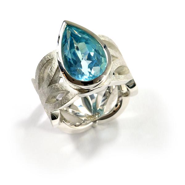Ornamentring Silber blauer Tropfen (1007531)