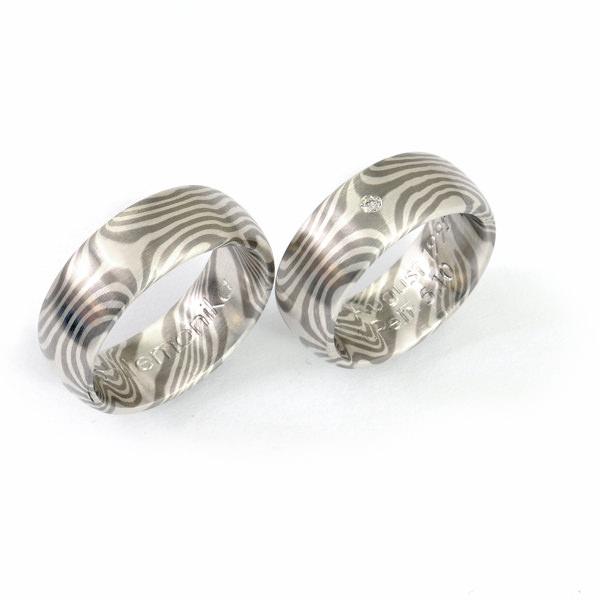 Eheringe Palladium Silber Mokume Gane Brillant (1007622)