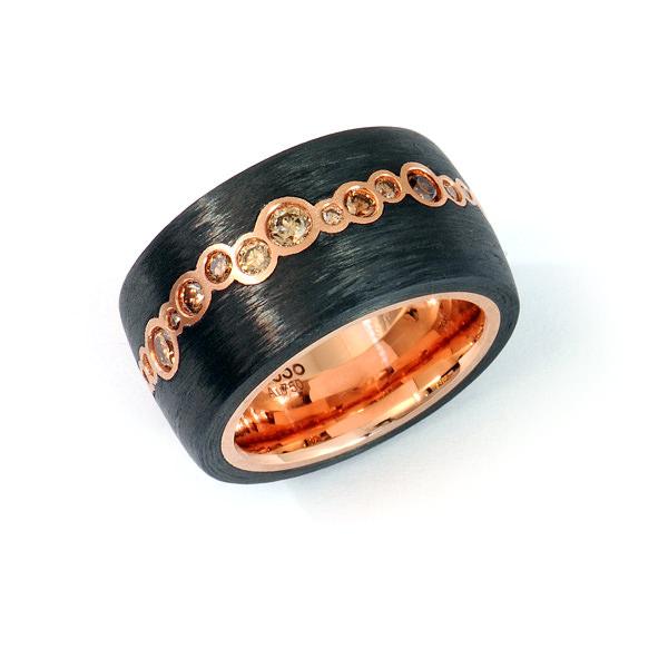 Ring Rotgold Carbon Brillanten (250759)